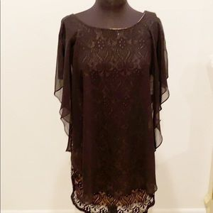 R & M Richard Black & Taupe Dress With Cape 6